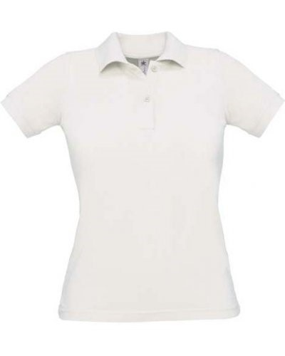 Women short sleeved polo shirt, two matching buttons, color white