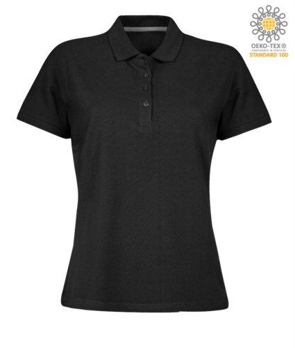 Women short sleeved polo shirt with four buttons closure, 100% cotton. black colour