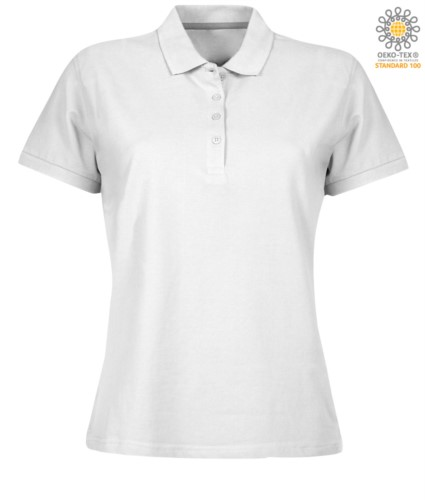 Women short sleeved polo shirt with four buttons closure, 100% cotton. white colour