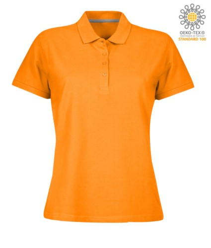 Women short sleeved polo shirt with four buttons closure, 100% cotton. orange colour