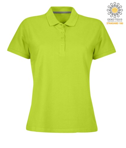 Women short sleeved polo shirt with four buttons closure, 100% cotton. acid green colour
