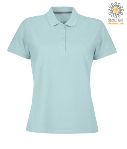 Women short sleeved polo shirt with four buttons closure, 100% cotton. aquamarine colour