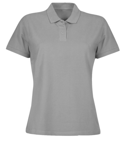 Women short sleeved polo shirt, two matching buttons, color healther grey