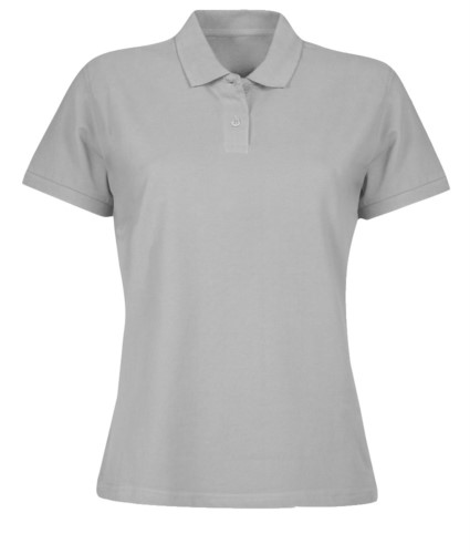 Women short sleeved polo shirt, two matching buttons, color pacific grey