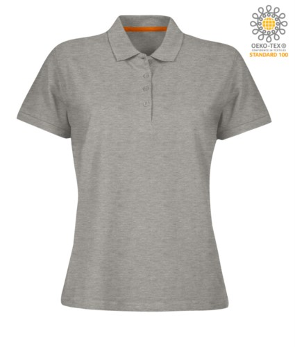 Women short sleeved polo shirt with four buttons closure, 100% cotton. melange grey colour