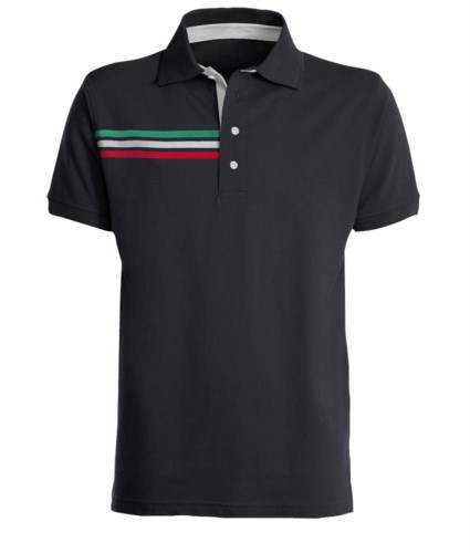 Short-sleeved polo shirt with three coloured detail on the right chest, contrasting inner collar and lapel. Royal blue navy colour - Italian flag