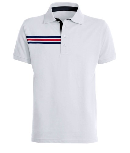 Short-sleeved polo shirt with three coloured detail on the right chest, contrasting inner collar and lapel. Royal white colour - France flag