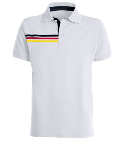 Short-sleeved polo shirt with three coloured detail on the right chest, contrasting inner collar and lapel. white/ german flag