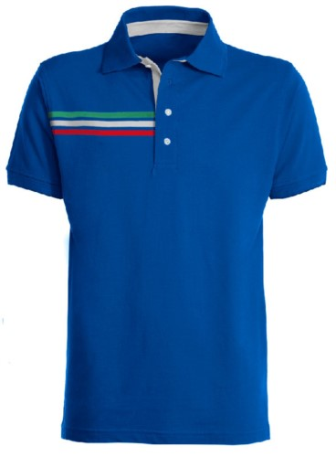 Short-sleeved polo shirt with three coloured detail on the right chest, contrasting inner collar and lapel. Royal blue colour - Italian flag