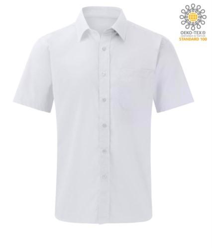men shirt short sleeve color White 100% cotton