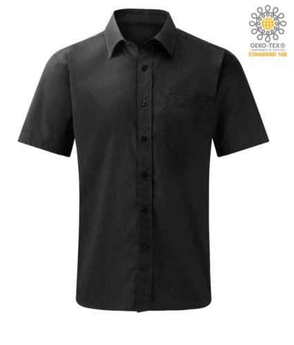 men shirt short sleeve color Black 100% cotton