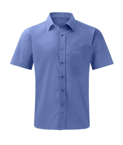men shirt short sleeve color blue 100% cotton