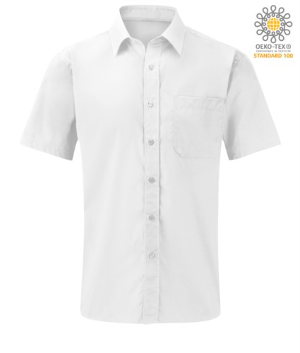 men short sleeved shirt polyester and cotton White color