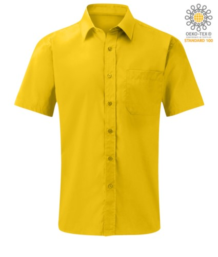 men short sleeved shirt polyester and cotton Yellow color