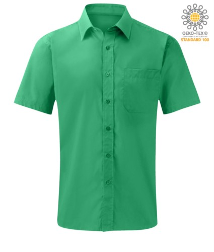 men short sleeved shirt polyester and cotton Green color