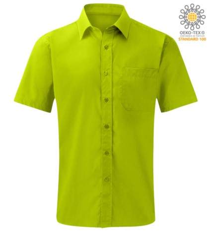 men short sleeved shirt polyester and cotton lime color