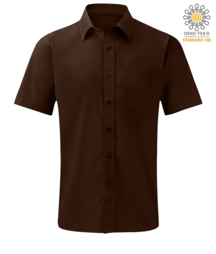 men short sleeved shirt polyester and cotton brown color