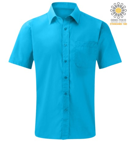 men short sleeved shirt polyester and cotton Turquoise color