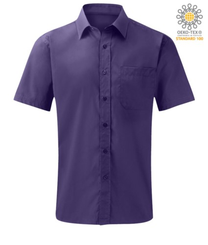 men short sleeved shirt polyester and cotton Purple color