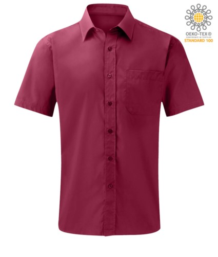 men short sleeved shirt polyester and cotton wine color