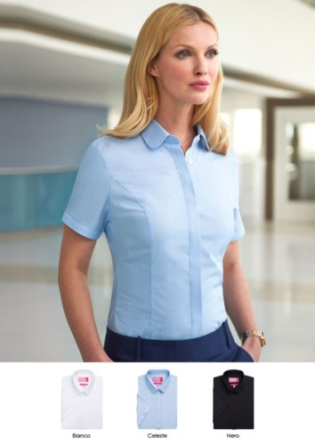 Elegant uniform shirt in white, light blue, black, polyester, cotton and elastane. Get a free quote.