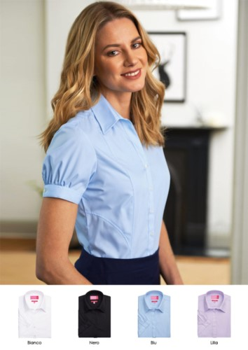 Polyester and cotton uniform shirt with covered buttons. Clothing for receptionists, hostesses, hoteliers. Ask for a free quote