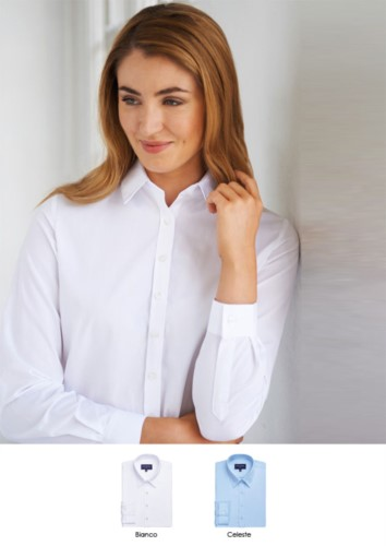 Elegant shirt for women, polyester and cotton, in easy iron fabric and easy fit. Ideal for receptionists, hostesses and hoteliers
