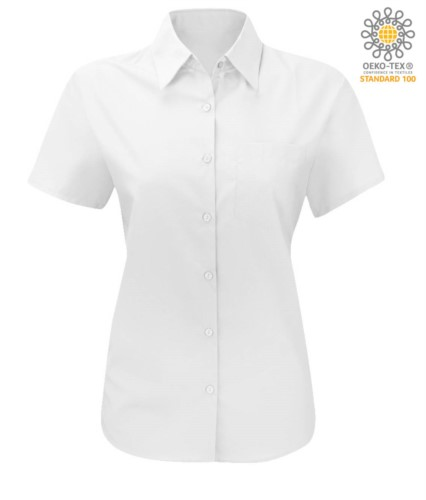 women shirt with short sleeves for work light blue
