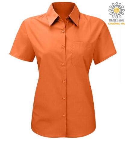 women shirt with short sleeves for work Orange