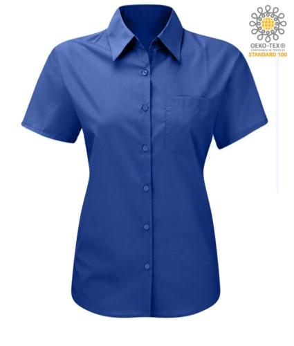 women shirt with short sleeves for work Light Blue