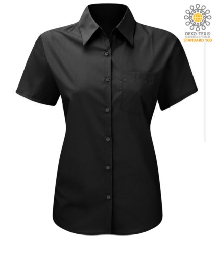 women shirt with short sleeves for work Black