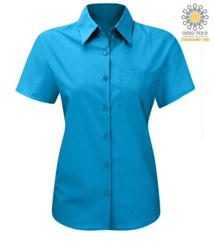 women shirt with short sleeves for work Turquoise
