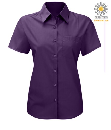 women shirt with short sleeves for work Purple