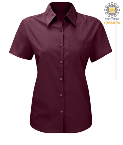women shirt with short sleeves for work wine