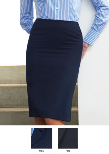 Classic navy and black skirt, 100% polyester. Ideal for receptionists, hostesses, hoteliers. Wholesale.