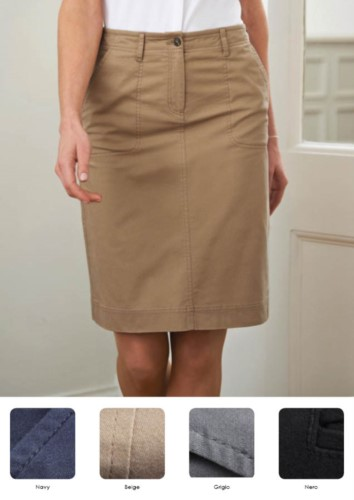 Cotton skirt and 4% elestane, with pockets and belt loops. Navy, beige, grey, black colours. Ideal for receptionists, hostesses and hoteliers.