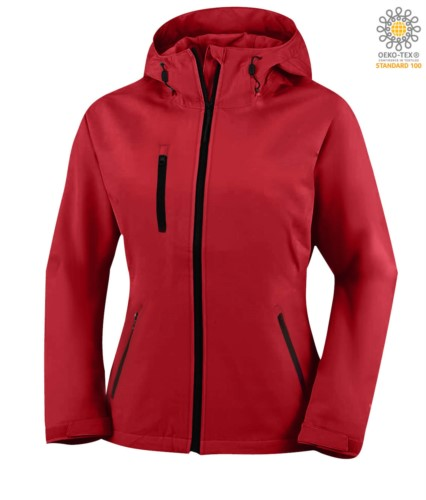 Two layer softshell jacket for women  with hood, waterproof. Color: Red