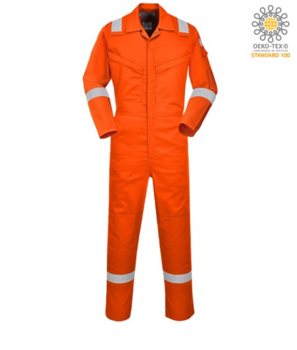 Antistatic and fireproof light coverall, adjustable cuff, sleeve pocket, knee pockets, side access, tape measure pocket, radio ring, orange colour. CE certified, EN11611, EN1149-5, EN11612:2009