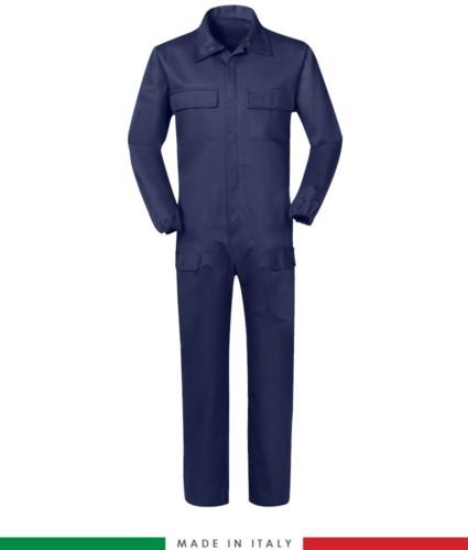 Multipro Coverall , multi-pocket, Made in Italy, elasticated cuffs, elasticated waist, certified EN 11611, EN 1149-5, EN 13034, CEI EN 61482-1-2:2008, EN 11612:2009, colour blue