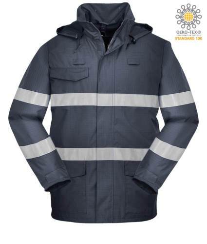 Multipro waterproof jacket, american collar with concealed hood, three pockets, covered zip closure, double reflective band on waist and sleeves, certified EN 343:2008, EN 1149-5, EN 13034, UNI EN ISO 14116:2008, colour blue