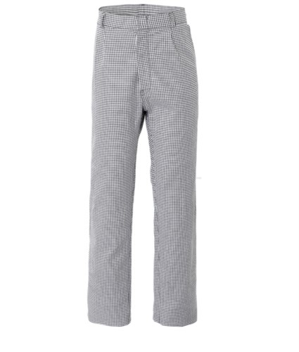 Chef trousers. button fly, two front pockets and one back pocket, color black and white checks