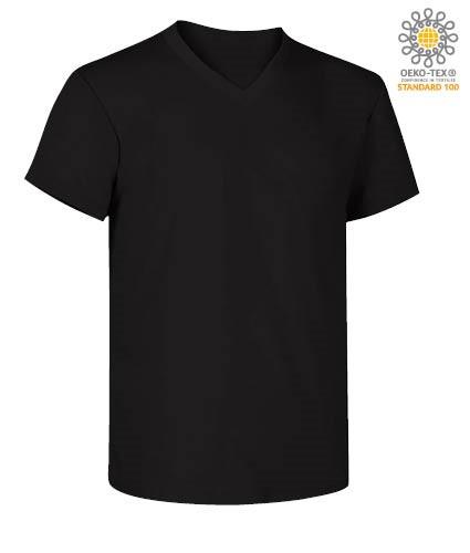 V-neck short-sleeved T-shirt in cotton. Colour black
