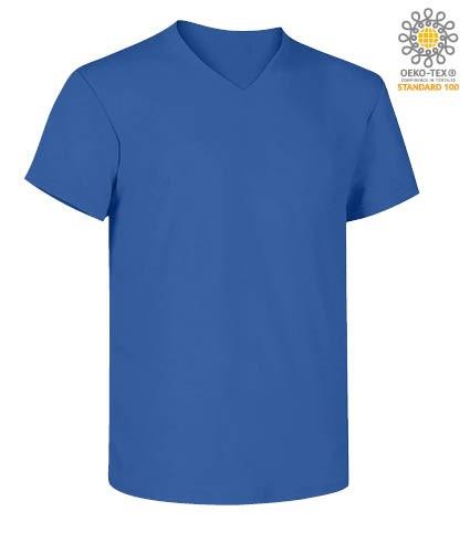 V-neck short-sleeved T-shirt in cotton. Colour royal blue