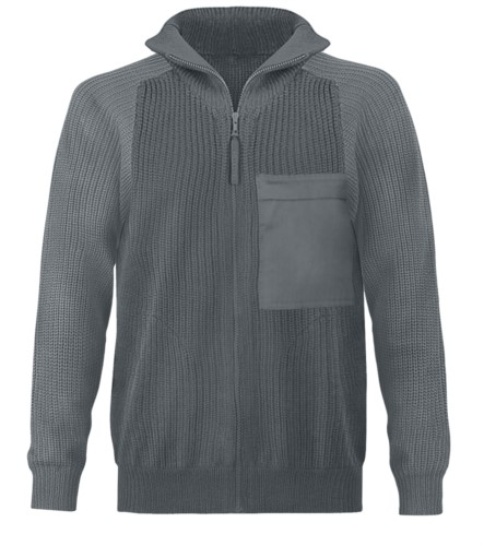 Men high neck sweater, long zip, shoulder and elbow patches, two waist pockets, 100% acrylic fabric color grey