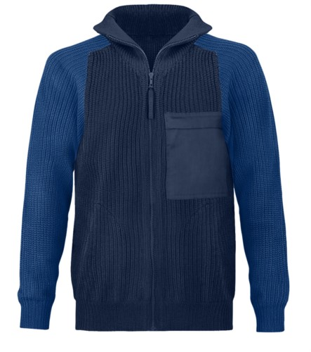 Men high neck sweater, long zip, shoulder and elbow patches, two waist pockets, 100% acrylic fabric color navy blue