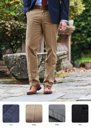 Elegant men trousers with classic cut, side pockets, cotton fabric and elastane. Get a free quote.