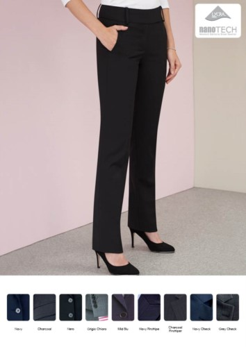 Elegant women's trousers with stain-resistant treatment. Polyester fabric, wool and lycra.  Ideal for receptionists, hostesses, hoteliers. Wholesale.
