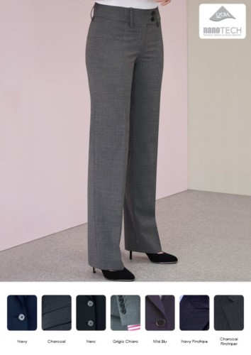 Elegant women's trousers with soft cut in stain-resistant fabric, polyester and wool. Ideal for receptionists, hostesses, hoteliers. Wholesale.