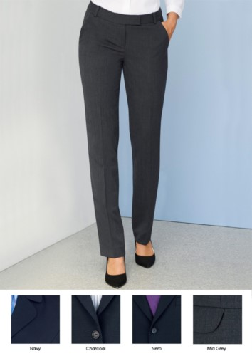 Elegant women's trousers in polyester and wool, with crease resistant fabric. Ideal for receptionists, hostesses, hoteliers.
