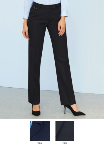 Elegant trousers in 100% polyester fabric, navy blue and black.  Ideal for receptionists, hostesses, hoteliers.